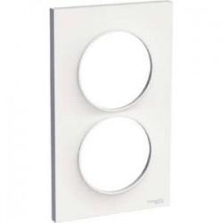 Schneider - Odace Styl, Plaque Blanc 2 Postes Verticaux Entraxe 57Mm - Réf : S520714