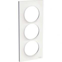 Schneider - Odace Styl, Plaque Blanc 3 Postes Verticaux Entraxe 57Mm - Réf : S520716