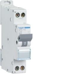 Hager - Disjoncteur 1P+N 3kA C 2A à vis - Réf : MFN702