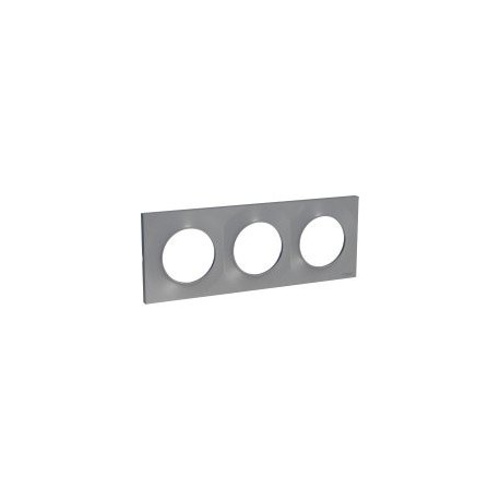 Schneider - Odace Styl, Plaque Alu 3 Postes Horiz./Vert. Entraxe 71Mm - Réf : S520706E