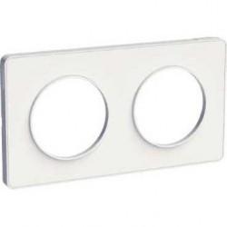 Schneider - Odace Touch, Plaque Blanc 2 Postes Horiz. Ou Vert. Entraxe 71Mm - Réf : S520804
