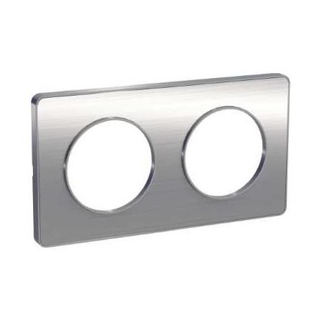 Schneider - Odace Touch, Plaque Aluminium Brossé Liseré Alu 2 Post. Horiz./Vert. 71Mm - Réf : S530804J