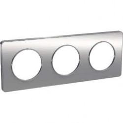 Schneider - Odace Touch, Plaque Aluminium Brossé Liseré Alu 3 Post. Horiz./Vert. 71Mm - Réf : S530806J