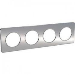 Schneider - Odace Touch, Plaque Aluminium Brossé Liseré Alu 4 Post. Horiz./Vert. 71Mm - Réf : S530808J