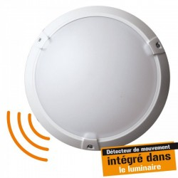 Woltz - Hublot plastique 60W - Classe II - IP 65 avec détecteur de mouvement Hf invisible - Réf : 355092