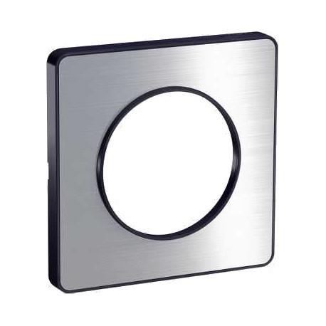 Schneider - Odace Touch, Plaque Aluminium Brossé Avec Liseré Anthracite 1 Poste - Réf : S540802J