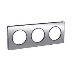Schneider - Odace Touch, Plaque Aluminium Brossé Liseré Anth. 3 Post. Horiz./Vert. 71Mm - Réf : S540806J