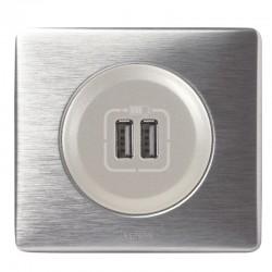 Legrand Céliane - Prise double chargeur USB - Ensemble Aluminium complet à Griffes - Réf : A010G