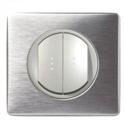 Legrand - Double Va et Vient Lumineux 10A - Ensemble Aluminium complet à Griffes - Réf : A020G