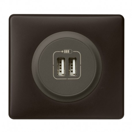 Legrand Céliane - Prise double chargeur USB - Ensemble Basalte complet - Réf : B010