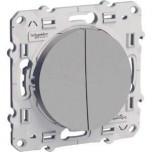Schneider Odace - Double Interrupteur Va et Vient - Alu - Réf : S530214