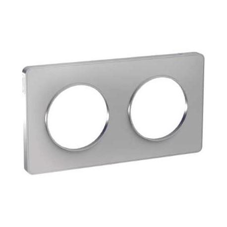 Schneider - Odace Touch, Plaque Alu 2 Postes Horiz. Ou Vert. Entraxe 71Mm - Réf : S530804