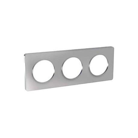 Schneider - Odace Touch, Plaque Alu 3 Postes Horiz. Ou Vert. Entraxe 71Mm - Réf : S530806