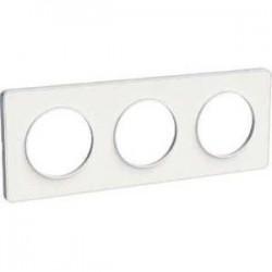 Schneider - Odace Touch, Plaque Blanc 3 Postes Horiz. Ou Vert. Entraxe 71Mm - Réf : S520806