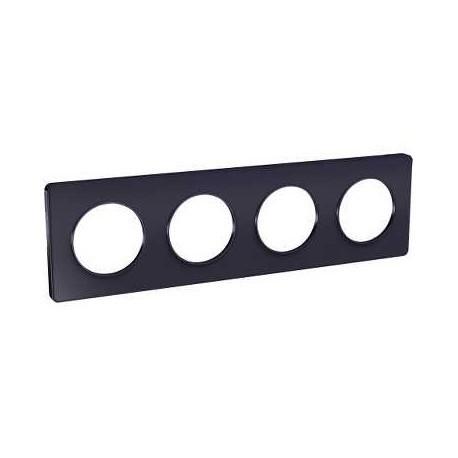 Schneider - Odace Touch, Plaque Anthracite 4 Postes Horiz. Ou Vert. Entraxe 71Mm - Réf : S540808