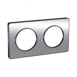 Schneider - Odace Touch, Plaque Aluminium Brossé Liseré Anth. 2 Post. Horiz./Vert. 71Mm - Réf : S540804J