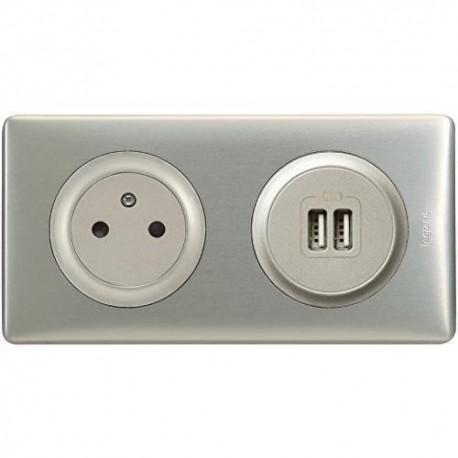 Legrand Céliane - Prise 2P+T + Prise Double USB - Ensemble Aluminium complet - Réf : A009