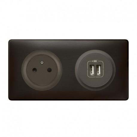 legrand c liane prise 2p t prise double usb ensemble carbone complet r f c009 sas elec44. Black Bedroom Furniture Sets. Home Design Ideas