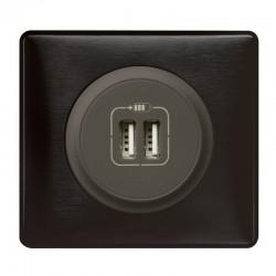 Legrand Céliane - Prise double chargeur USB - Ensemble Carbone complet - Réf : C010