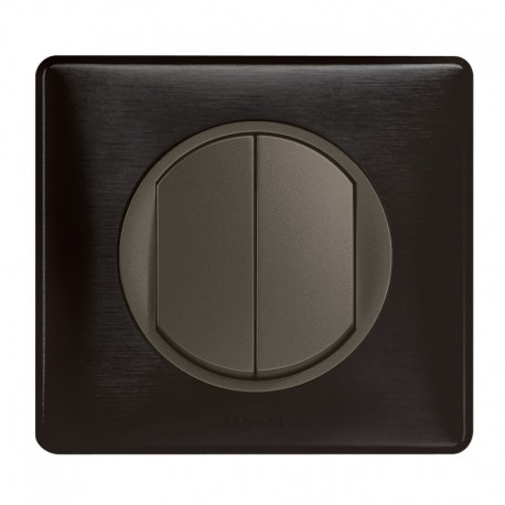 Legrand - Double Bouton Poussoir - Ensemble Carbone complet - Réf : C015