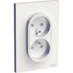 Schneider - Odace prise de courant 2P+T double Blanc, à griffes spécial renovation, 1 poste - Réf : S521089
