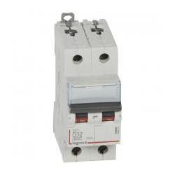 Legrand - Disjoncteur DX³6000 10kA - vis/vis - 2P-230/400V~ -32A -courbe D-peigne HX³ trad 2P-2M - Réf : 408018