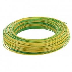 Fil H07 V-R 6 mm² - Couronne 100 m - Vert/jaune - Réf : 20035393