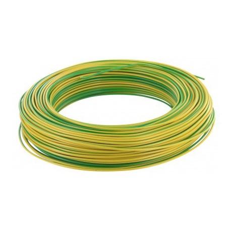 Fil H07 V-R 6 mm² - Couronne 100 m - Vert/jaune - Réf : 002705