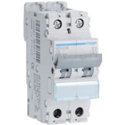 Hager - Disjoncteur 2P 6-10kA courbe C - 6A 2 modules - Réf : NFN206