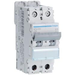 Hager - Disjoncteur 2P 6-10kA courbe C - 10A 2 modules - Réf : NFN210