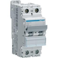 Hager - Disjoncteur 2P 6-10kA courbe C - 16A 2 modules - Réf : NFN216