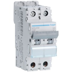 Hager - Disjoncteur 2P 6-10kA courbe C - 32A 2 modules - Réf : NFN232