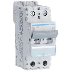 Hager - Disjoncteur 2P 6-10kA courbe C - 40A 2 modules - Réf : NFN240