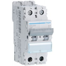 Hager - Disjoncteur 2P 6-10kA courbe C - 50A 2 modules - Réf : NFN250