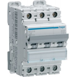 Hager - Disjoncteur 3P 6-10kA courbe C - 16A 3 modules - Réf : NFN316