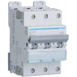 Hager - Disjoncteur 3P 6-10kA courbe C - 32A 3 modules - Réf : NFT332