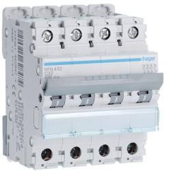 Hager - Disjoncteur 4P 6-10kA courbe C - 32A 4 modules - Réf : NFN432