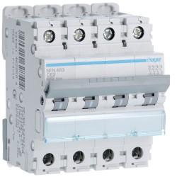 Hager - Disjoncteur 4P 6-10kA courbe C - 63A 4 modules - Réf : NFN463
