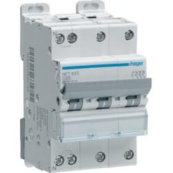 Hager - Disjoncteur 3P+N 6-10kA courbe C - 25A 3 modules - Réf : NFT825