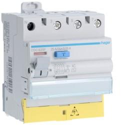 Hager - Interrupteur différentiel 3P+N 25A 30mA type AC à bornes décalées - Réf : CDC825F