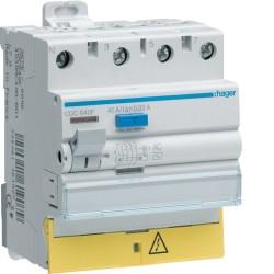 Hager - Interrupteur différentiel 3P+N 40A 30mA type AC à bornes décalées - Réf : CDC840F
