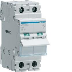 Hager - Interrupteur modulaire 2 pôles 63A - Réf : SBN263