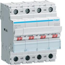 Hager - Interrupteur modulaire 4 pôles 40A - Réf : SBN440