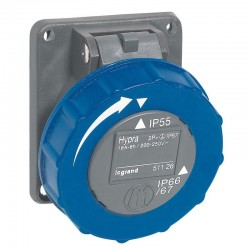 Legrand - Prise fixe Hypra IP66/67 - 55 16A - 200V~ à 250V~ - 2P+T - plastique - Réf : 051126