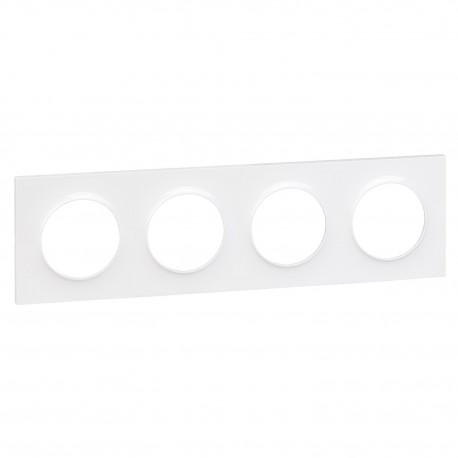 Schneider - Odace Styl, Plaque Blanc 4 Postes Horizontaux Ou Verticaux Entraxe 71Mm - Réf : S520708