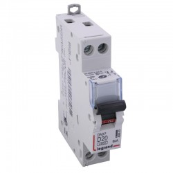 Legrand - Disjoncteur DNX³ 4500 - vis/vis - U+N 230V~ 20A - 4,5kA - courbe D - 1 mod - Réf : 406803