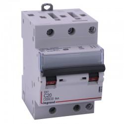 Legrand - Disjoncteur DX³ 4500 - vis/vis - 3P - 400 V~ - 20A - 6kA - courbe C - 1 module - Réf : 406893