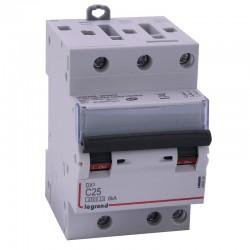 Legrand - Disjoncteur DX³ 4500 - vis/vis - 3P - 400 V~ - 25A - 6kA - courbe C - 1 module - Réf : 406894