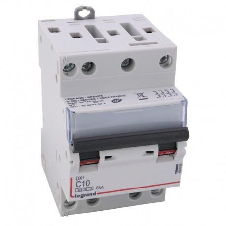 Legrand - Disjoncteur DX³ 4500 - vis/vis - 4P - 400 V~ - 10A - 6kA - courbe C - 3 modules - Réf : 406908