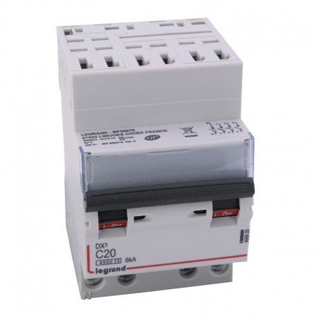 Legrand - Disjoncteur DX³ 4500 - auto/vis - 4P - 400 V~ - 20A - 6kA - courbe C - 3 modules - Réf : 406920